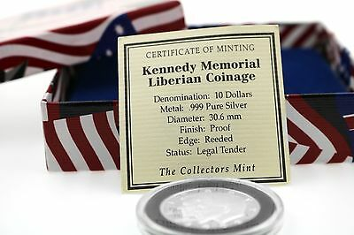 $10 silver Kennedy memorial certificate of minting