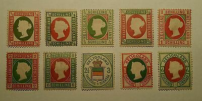 Heligoland QV Germany Deutsche early classics. 10 different. See description