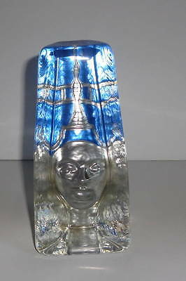 scandinavian art glass pharoah sculpture sea glass bruk kosta boda signed