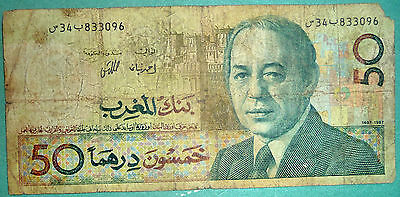 MOROCCO 50 DIRHAMS NOTE , P 61 a,  ISSUED 1987, SIGNATURE 9