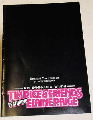 An Evening With Tim Rice And Friends 1985 Souvenir Theatre Program - Excellent