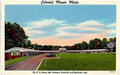 Postcard MD Colonial Manor Motel U.S. Route 240 Between Rockville & Bethesda D24