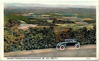 Postcard MD Between Cumberland & Hagerstown View Of Peaceful Valley Old Car D24