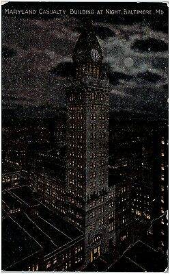 Postcard MD Baltimore Maryland Casualty Building At Night D24