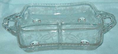 New Martinsville Prelude Divided Footed Dish with Handles