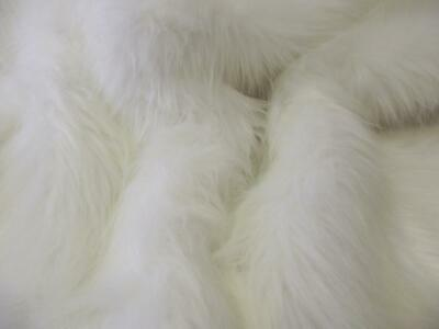 Super Luxury Faux Fur Fabric Material - LONG PILE BRIGHT WHITE