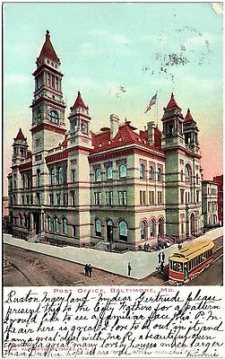 Postcard MD Baltimore Post Office Trolley UDB D24