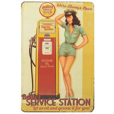 Betties Service Retro Metal Tin Sign Homewares Decor Vintage Pin Up Garage Oil