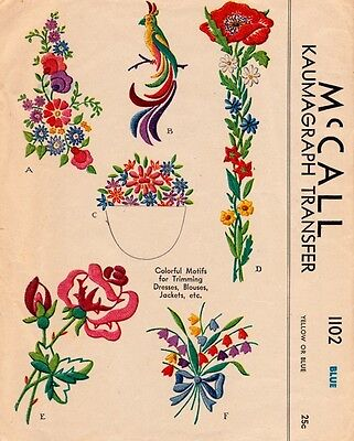 McCall Mccalls 1102 Vintage Hand Embroidery Transfer Pattern Flowers Motifs Bird