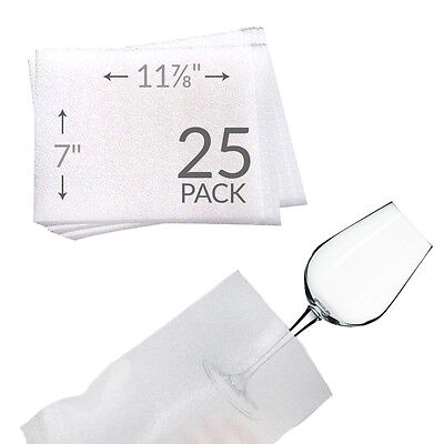"7""x11-7/8"" Foam Pouches for Glasses (25 Pack) Protect Dishes"