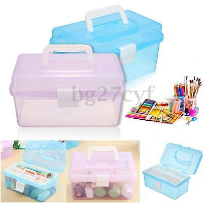 2-Layers Clear Plastic Jewelry Bead Storage Box Container Organizer Case Craft