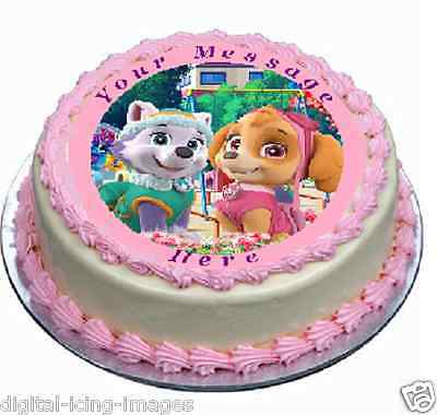 Paw Patrol, Everest, Skye, Cake topper edible image icing party REAL FONDANT 656