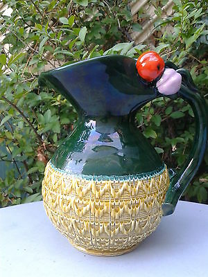 Clearance! Large Italian Hand Made Vintage Porcelain Water Jug Greens Fancy