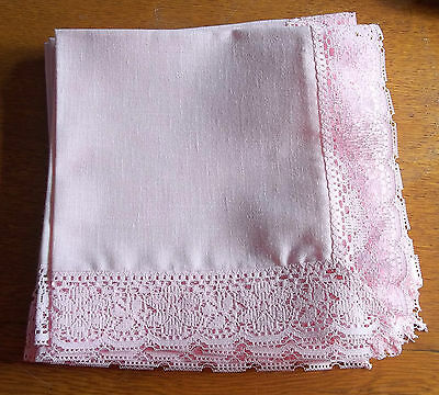 Set of Eight Pink Lace Trimmed Napkins 18 by 18