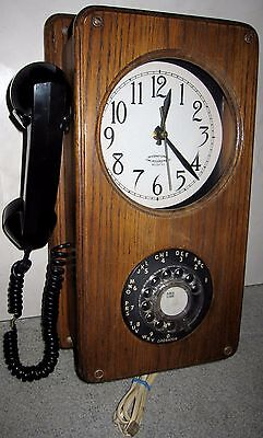 Vintage T.D.Y. Telephone Company Wooden Rotary Dial Wall Phone w/Clock & Notepad