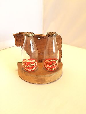 Vintage Sealtest Salt and Pepper Shakers with Original Wood Cow Stand