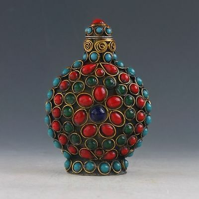 Exquisite Chinese Turquoise Coral Bead Handmade Snuff Bottle