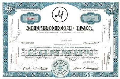 Lehman Brothers issued collectible stock certificate   Microdot Inc. California