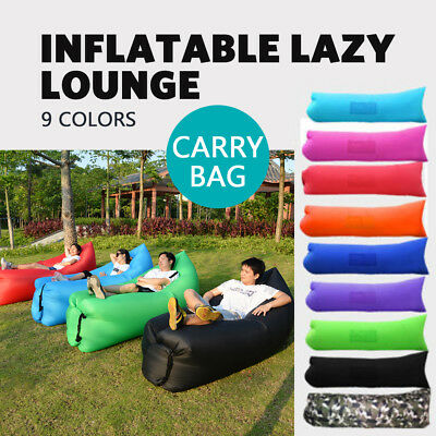 Fast Inflatable Air Lazy Sofa Bed Chair Bag For Camping Hiking Sleeping Beach Au