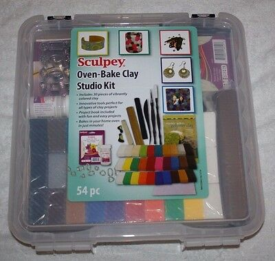 Sculpey 54 Piece Oven Bake Clay Studio Kit, 30 Pieces of Colored Clay New