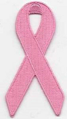 Pink Ribbon Breast Cancer Awareness Embroidered Iron On Patch