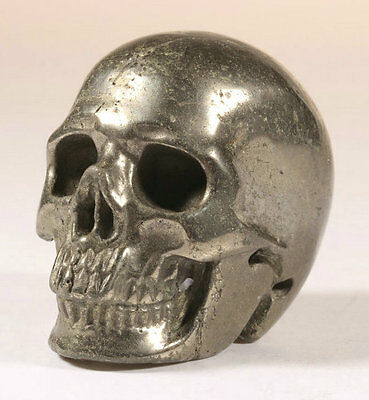 """2.0""""Pyrite Carved Crystal Skull, Realistic, Crystal Healing"""