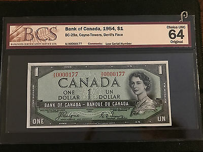 1954 Devils Face $1 Bank of Canada BCS Graded Choice UNC-64 Low serial Number