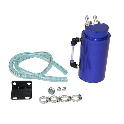 Aluminium Engine Oil Catch Tank+Hose Kit Cylinder Alloy Reservoir Breather Can
