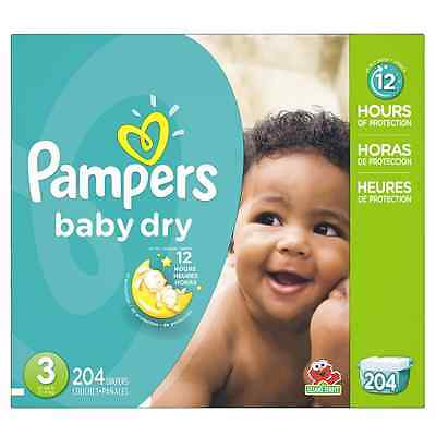 P&G Pampers Baby Dry Diapers Economy Pack Plus, Size 3, 204 Count New Free Ship