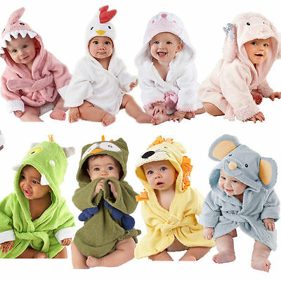 Newborn Infant Animal Cartoon Bathrobe Hooded Baby Bath Towel Soft Bathing Towel