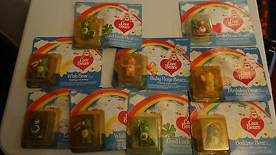VINTAGE NEW UNOPENED CARE BEAR MINIATURES lot of 9 BEARS FREE SHIPPING
