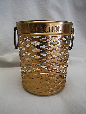 Seagrams Small Copper Plated Handled Basket Bottle Stick Holder Scovill