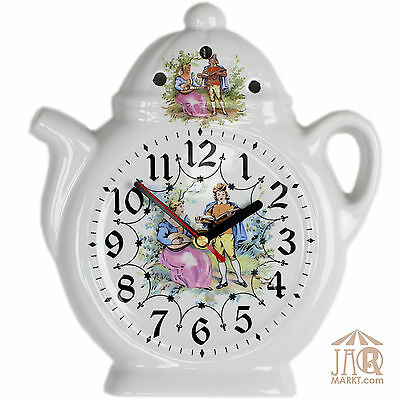 Wall Clock Kitchen - Ceramic Watch in Country House Style - Romantic Couple