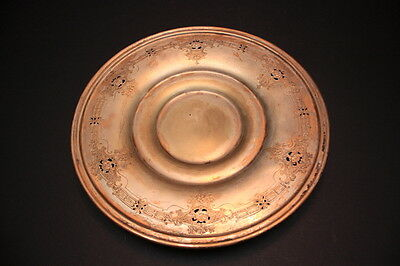 """Vintage Poole Silver Co. EPNS 10"""" Diameter Silver Cut Out Dish with Roses"""