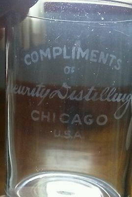 Vintage Seeurity Seurity Distilling Company Chicago Usa Etched Adv. Shot Glass