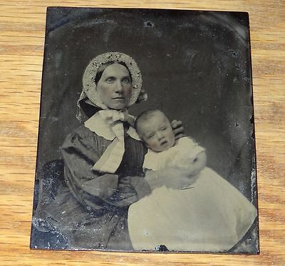 Antique Ruby Ambrotype Woman Holding Baby Post Mortem ? Unhealthy