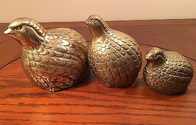 Vtg Set Of Three Solid Brass Quail/Grouse Figurines, Home Decor or Paperweights