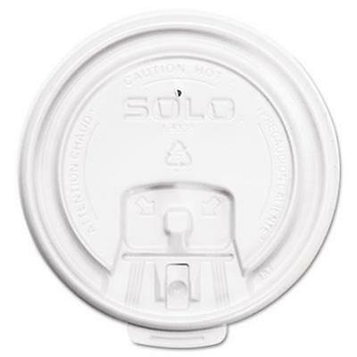 Solo Cup LB3081 Hot Cup Lids White Plastic w/ Tear Tab