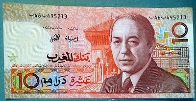 MOROCCO 10 DIRHAMS  NOTE , P 60 a,  ISSUED 1987, SIGNATURE 9