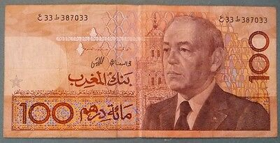 MOROCCO 100 DIRHAMS NOTE , P 65 d,  ISSUED 1987, SIGNATURE 10