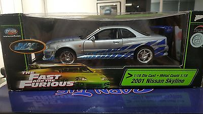 ERTL 1:18 Fast and Furious - Brian's 2001 Silver Nissan Skyline GT-R - Rare