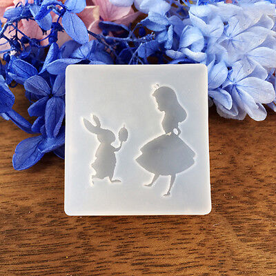 DIY Silicone Mold Resin Jewelry Making Epoxy Pendant Mould Rabbit & Girl