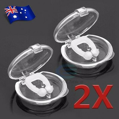2x Anti Silicone Nose Clip Stop Snoring Snore Sleep Device Magnetic Stopper