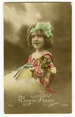 1910's Vintage Children Child CUTE SMILEY GIRL tinted antique photo postcard