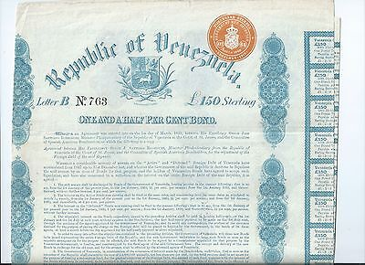 Republic of Venezuela 150 pound Sterling bond signed issued uncancelled 1859