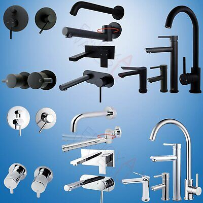 Chrome/ Black Shower Mixer Bath Spout Kitchen Basin Vanity Faucet Tap LEAD FREE