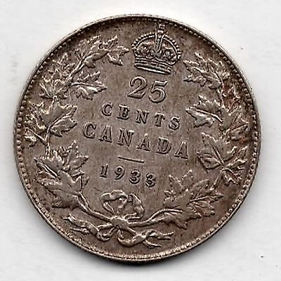 1933 Canada 25 Twenty-Five Cents Quarter Extremely Fine / Almost Uncirculated