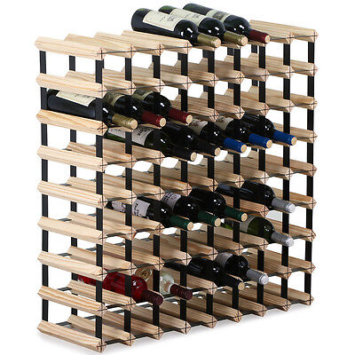 72 Bottle Natural Timber Wine Rack Wooden Holder Storage Display Organiser Stand