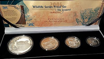 2004 4 coin set Wildlife Series Proof Set The Leopard The african Legend