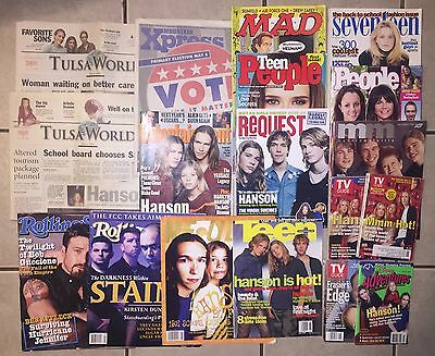 Collection of 18 Magazines/Newspapers with HANSON from 1997-2008!! Very RARE